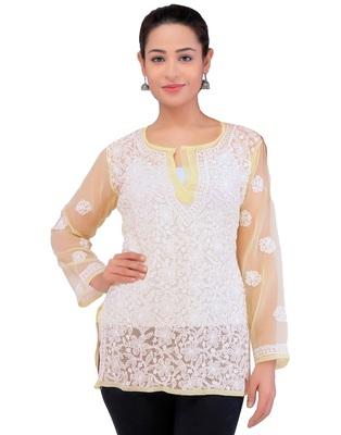 Lavangi Women Lucknowi Chikankari Georgette Short Top (Fawn)