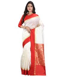 White embroidered art silk saree with blouse