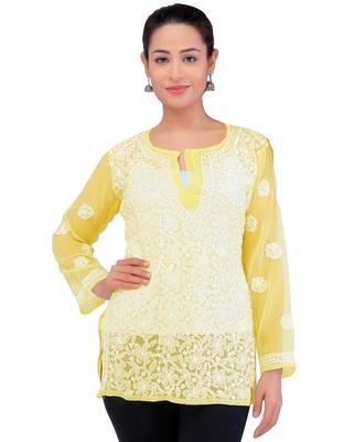 Lavangi Women Lucknowi Chikankari Georgette Short Top (Yellow)