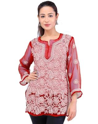 Lavangi Women Lucknowi Chikankari Georgette Short Top (Red)