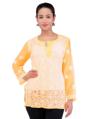Lavangi Women Lucknowi Chikankari Georgette Short Top (Turmeric Yellow)