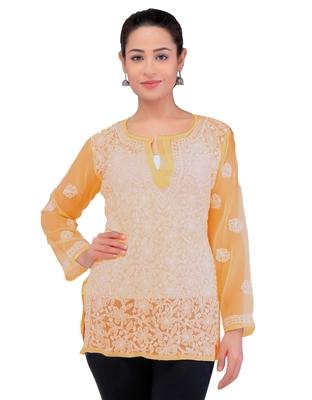 Lavangi Women Lucknowi Chikankari Georgette Short Top (Mustard)