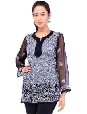 Lavangi Women Lucknowi Chikankari Georgette Short Top (Black)