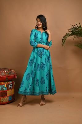 KAAJH Turquoise Printed Cotton Anarkali Kurta