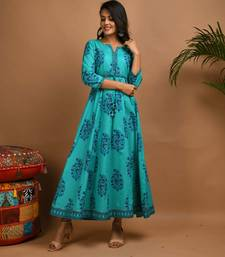 Turquoise printed cotton cotton-kurtis