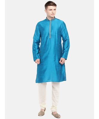 Ethnicity Polystaple Slub Straight Men Teal Kurta