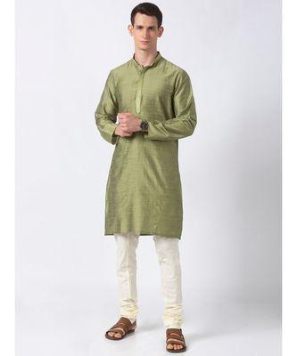 Ethnicity Polystaple  Straight Men Green Kurta