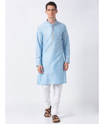 Ethnicity Polystaple  Straight Men Light Blue Kurta