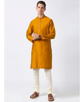 Ethnicity Polystaple  Straight Men Mustard Kurta