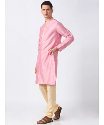 Ethnicity Polystaple  Straight Men Pink Kurta