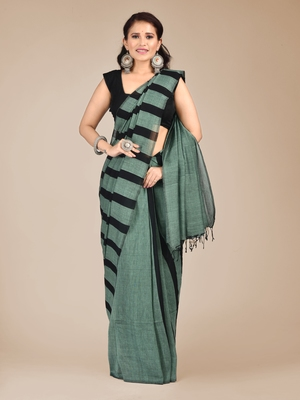 Green woven pure cotton saree with blouse