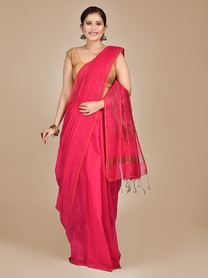 Rani pink woven blended cotton saree with blouse