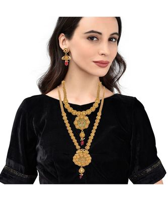 Gold Plated Long And Short Necklace Set For Women