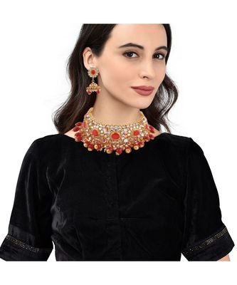 Gold Plated Red Stone Studded Choker Necklace Set
