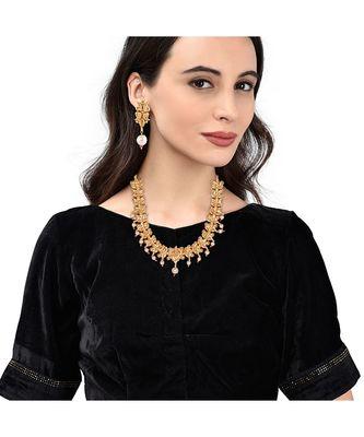 Gold Plated Designer Flower Necklace Set