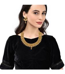 Gold Plated Traditional South Style Necklace Set For Women