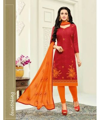 Red Embroidery Chanderi unstitch straight fit churidar suits salwar suits