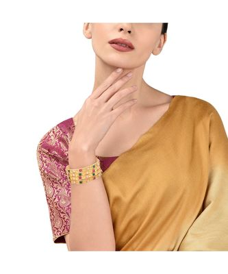 Gold Plated Stone Studded 4Pc Bangles