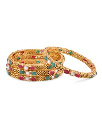 Gold Plated With Stone Traditional Bangles
