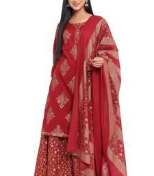 F Women's Cotton Cambric Handblock Print Straight Kurta Sharara Dupatta (Red)