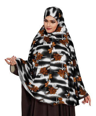 JSDC Festive Wear Floral Printed Stitched Spun Lycra Chaderi Hijab Without Sleeves