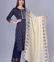 Women's Navy Blue Foil Printed Embellished Straight Kurta with Palazzo and Dupatta Set (Set of 3)