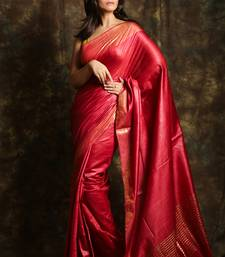 Crimson woven tussar silk saree with blouse