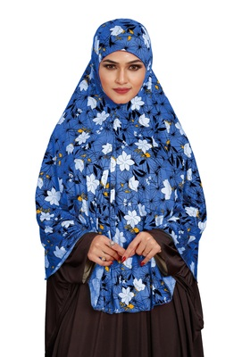 JSDC Namazi Wear Floral Printed Stitched Spun Lycra Chaderi Hijab Without Sleeves