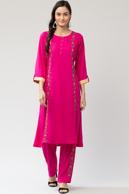 MRC Women's Embroidered Kurti with Embroidered Palazzo with Pocket