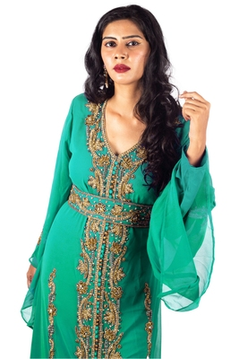 Green Golden Copper beads luxurious Moroccan Kaftan