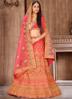 Pink Satin Embroidery Designer Wedding Lehenga