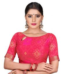 Pink Color Designer 2D  Jequard Fabric Boat Neck Readymade Saree Blouse