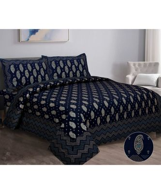 Ridan cotton navy blue  gold printed king size double bed sheet with pillow cover