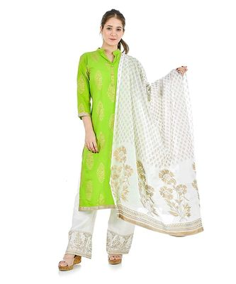 green  Women Kurta and palazzo with dupatta Set