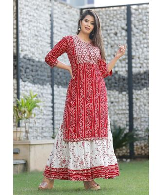 red  women's bandhani Printed  with embroidery kurta with skirt
