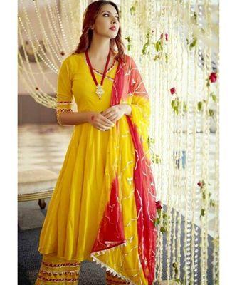 Yellow  Women's rayon gotta work kurta and palazoo and dupatta  set