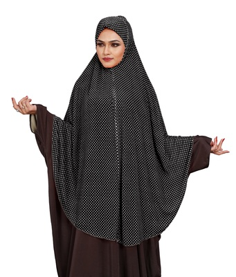 JSDC Women Occasion Wear Polka Dot Printed Stitched Imported Jersey Abaya Hijab Without Sleeves