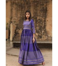 pure hand block printed gown in madras silk fabric with gathering on waist line