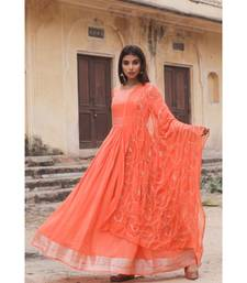 linen cotton gown with chiffon dupatta alongwith hand gota work on dupattas