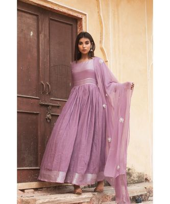 linen cotton gown with chiffon dupatta alongwith hand gota work on dupattas