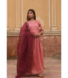 pure jaam silk gown in angrakha style along with pure organza dupatta with complete hand work