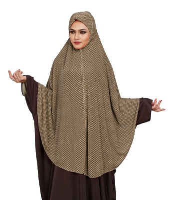 JSDC Choco Color Polka Dot Printed Stitched Imported Jersey Abaya Hijab Without Sleeves