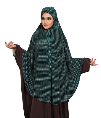 JSDC Women Polka Dot Printed Stitched Imported Jersey Abaya Hijab Without Sleeves