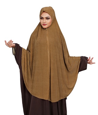 JSDC Women Casual Wear Polka Dot Printed Stitched Imported Jersey Abaya Hijab Without Sleeves