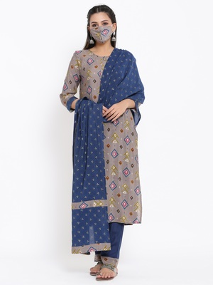 Ardozaa Womens Chanderi Geometric Print Straight Kurta Pant Dupatta Set (Grey)
