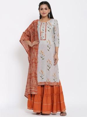Ardozaa Womens Chanderi Floral Print Straight Kurta Sharara Dupatta Set (Grey)