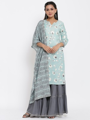 Ardozaa Womens Modal Chanderi Jaal Print Straight Kurta Sharara Dupatta Set (Blue)