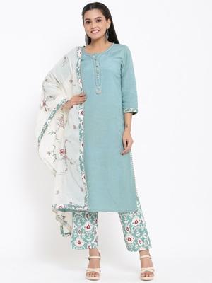 Ardozaa Womens Cotton Slub Solid Straight Kurta Pant Dupatta Set (Blue)