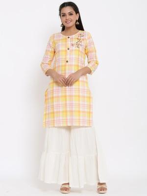 Ardozaa Womens Cotton Checkered Print Straight Kurta Sharara Set (Multicolor)