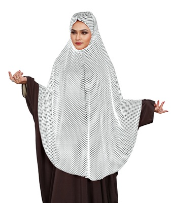 JSDC Modest Wear Polka Dot Printed Stitched Imported Jersey Abaya Hijab Without Sleeves
